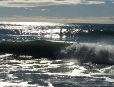 sun reflecting on waves